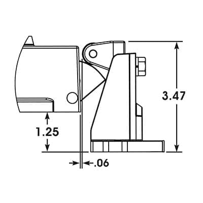 504-OFF, Non-locking S.S. latch with offset strike drawing